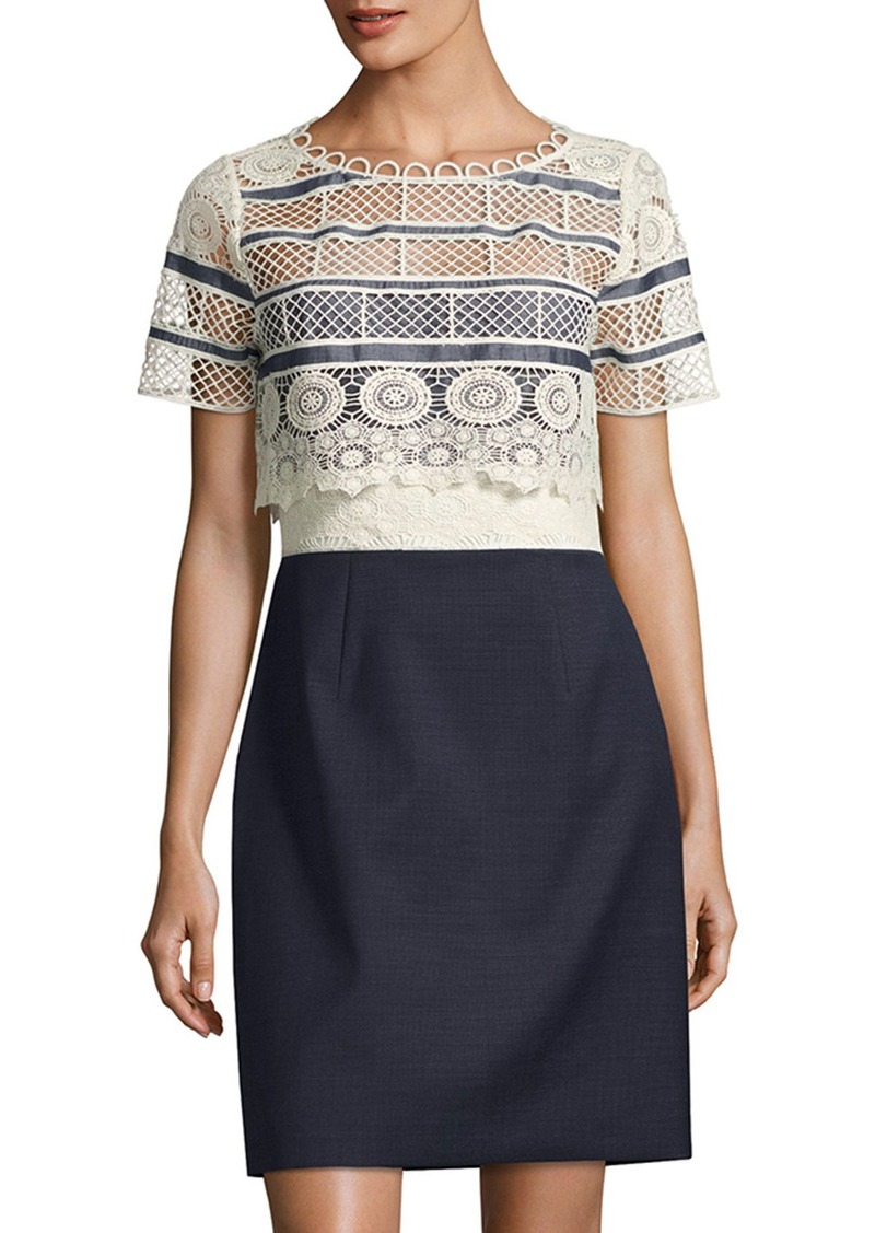 Elie Tahari Carline Lace Popover & Chambray Combo Dress