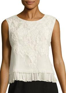 ELIE TAHARI Carlyn Embellished Tiered Silk Top