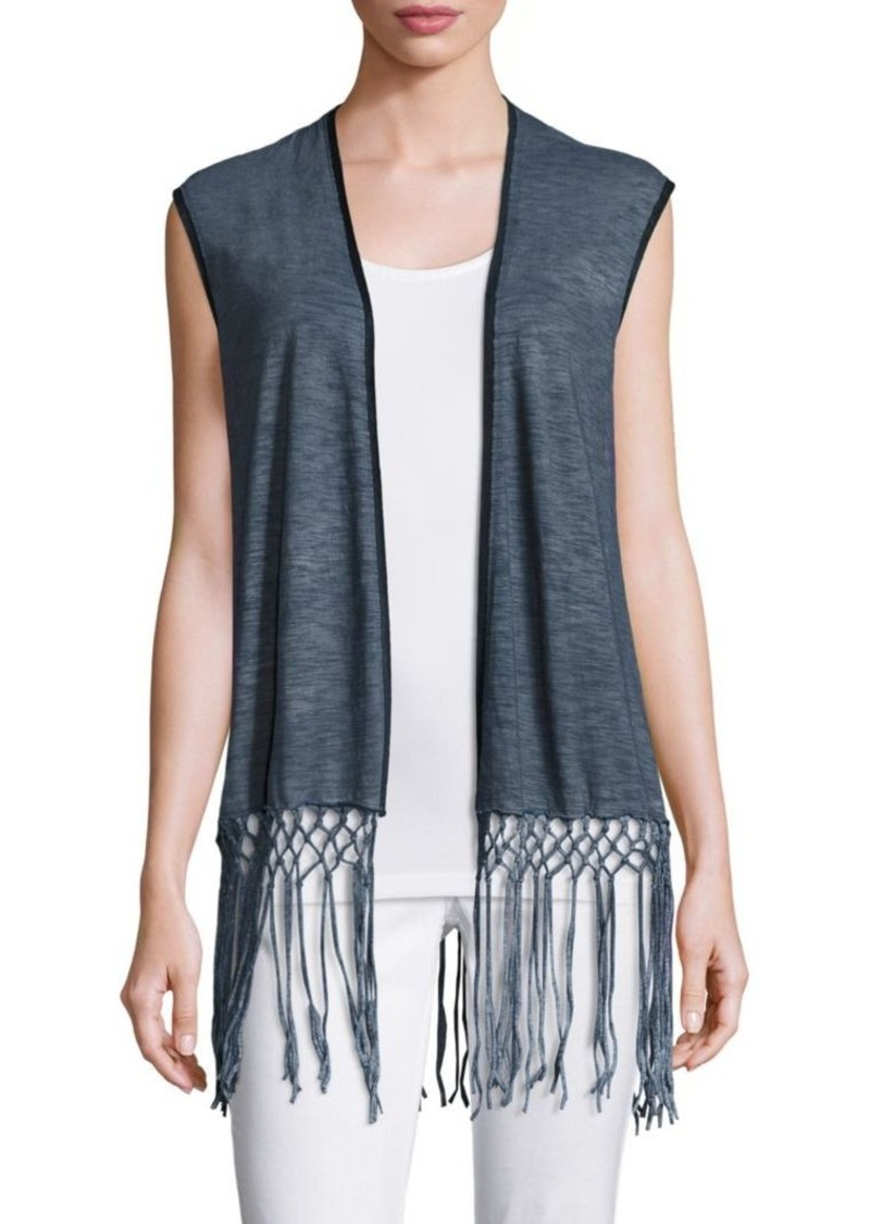 Elie Tahari Carmen Cotton Fringe Vest