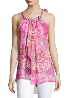 Elie Tahari Carmen Floral-Print Silk Halter Blouse