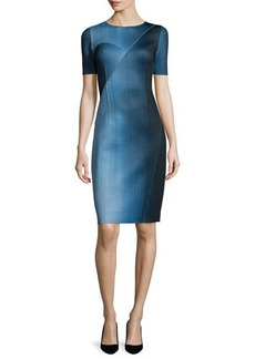 Elie Tahari Carmen Short-Sleeve Digital-Print Sheath Dress