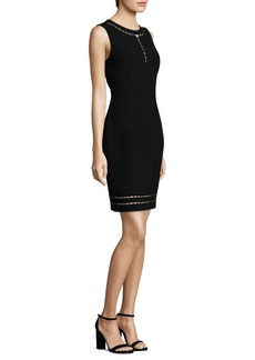 Elie Tahari Carol Bead-Accented Sheath Dress