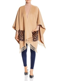 Elie Tahari Carolina Fur-Pocket Fringe Poncho