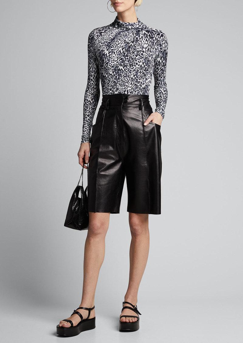Elie Tahari Carrie Leopard-Print Knit Top