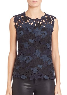 Elie Tahari Carrie Sleevess Floral Lace Blouse