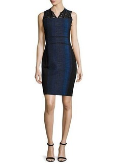 Elie Tahari Cassandra Striped Tweed Sheath Dress