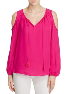 Elie Tahari Cathy Cold Shoulder Silk Peasant Blouse