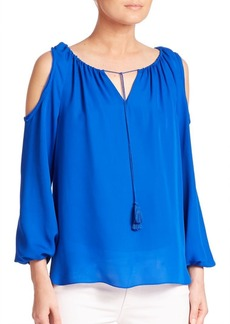 Elie Tahari Cathy Silk Cold-Shoulder Blouse