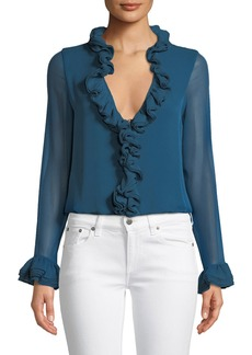 Elie Tahari Chandana Ruffled V-Neck Long-Sleeve Silk Blouse