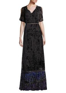 Elie Tahari Charlize Velvet Burnout Maxi Dress