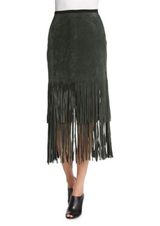 Tahari Woman Charlotte Suede Skirt W/ Fringe Hem