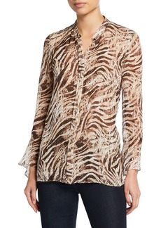Elie Tahari Chava Tiger Stripe Button-Down Long-Sleeve Blouse
