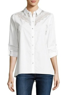 Elie Tahari Cher Crocheted-Yoke Button-Front Blouse