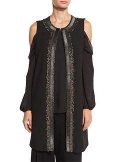 Elie Tahari Cheyenne Long Embroidered Vest