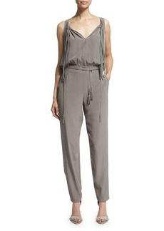 Elie Tahari Cheyenne Sleeveless Slim-Leg Silk Jumpsuit