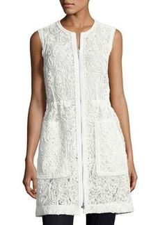 Elie Tahari Chloe Zip-Front Lace Vest