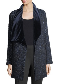 Elie Tahari Christina Textured Velvet-Collar Open Coat