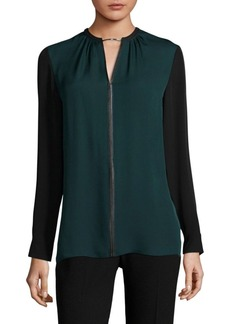 Elie Tahari Ciella Two-Tone Silk Blouse