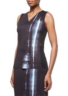 Elie Tahari Clara Reversible Sleeveless Mesh-Side Top