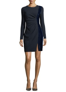 Elie Tahari Clarette Long-Sleeve Ruched Velvet-Trim Sheath Dress