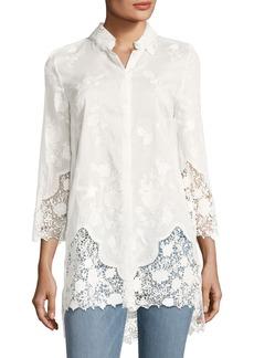 Elie Tahari Clark Floral Lace Long Blouse