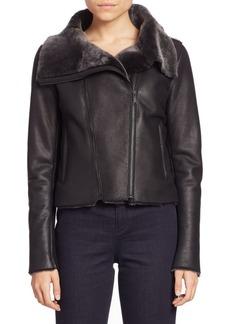 Elie Tahari Claudette Shearling Moto Jacket