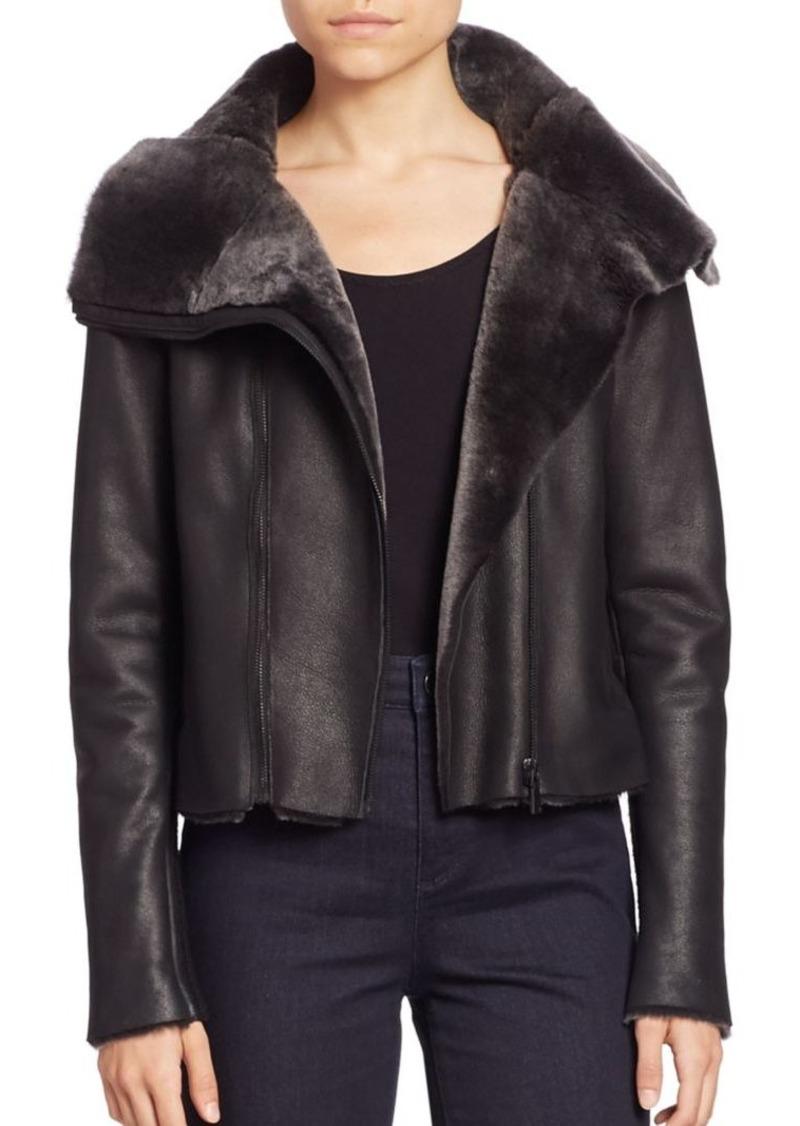 Tahari black leather jacket