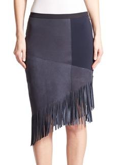 Elie Tahari Claudette Suede Fringe Skirt