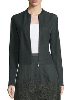 Elie Tahari Cleary Zip-Front Suede Jacket
