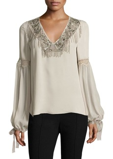 Elie Tahari Clementine Tie-Sleeve Mixed-Media Silk Blouse