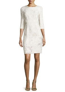Elie Tahari Clinton 3/4-Sleeve Embossed Sheath Dress