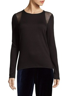 Elie Tahari Clover Knit Long Sleeve Top