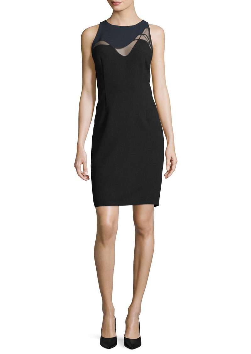 Elie Tahari Colby Mesh-Inset Sheath Dress