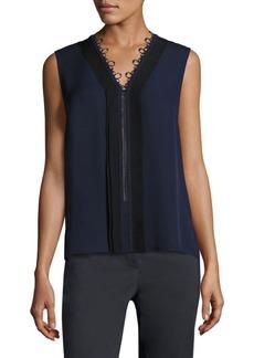 Elie Tahari Colette Lace Inset Silk Blouse