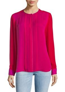 Elie Tahari Colorblock Silk Blouse