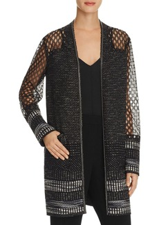 Elie Tahari Connor Chain-Embellished Open Front Jacket