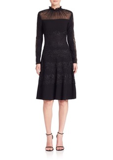 Elie Tahari Cora Lace Applique A-Line Dress