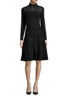 Elie Tahari Cora Ruffle-Collar Embroidered A-Line Dress