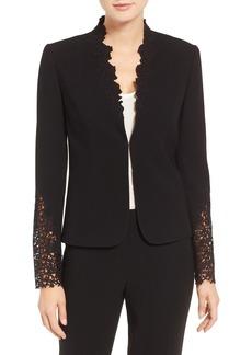 Elie Tahari Corian Lace & Crepe Jacket