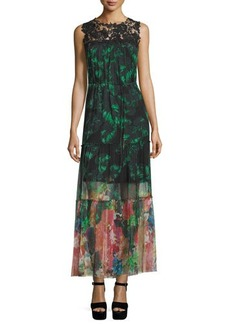 Elie Tahari Corinne Sleeveless Mixed-Print Maxi Dress