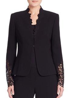 Elie Tahari Corrian Lace Cutout Sleeve Jacket