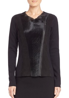 Elie Tahari Courtney Perforated Calf Hair Jacket