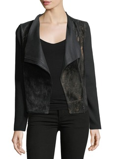 Elie Tahari Courtney Zip-Front Leather & Wool Combo Moto Jacket