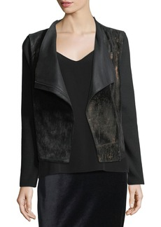Elie Tahari Courtney Zip-Front Leather & Wool Combo Moto Jacket