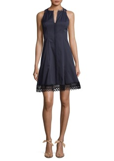 Elie Tahari Crochet A-Line Dress