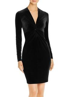 Elie Tahari Cynthia Velvet Knot-Front Dress