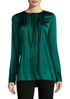 Elie Tahari Dabney Pleated Silk Blouse