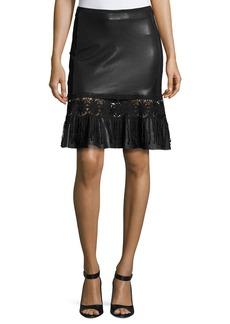 Elie Tahari Dallas Crochet-Trim Leather Skirt