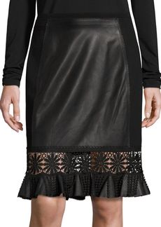 Elie Tahari Dallas Leather Skirt