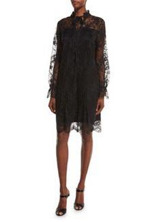 Elie Tahari Dara Long-Sleeve Lace Overlay Dress
